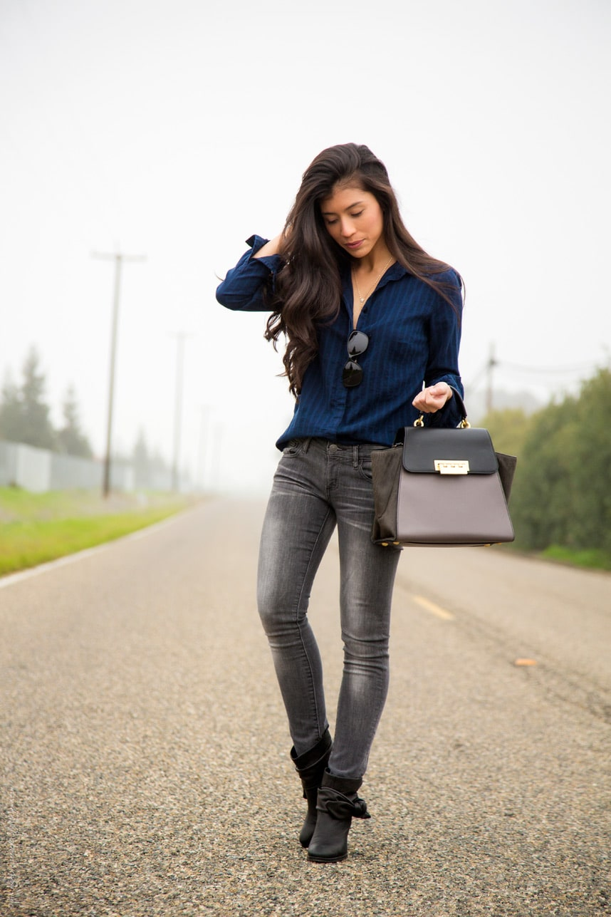 Casual black jeans and button down outfit - Stylishlyme.com