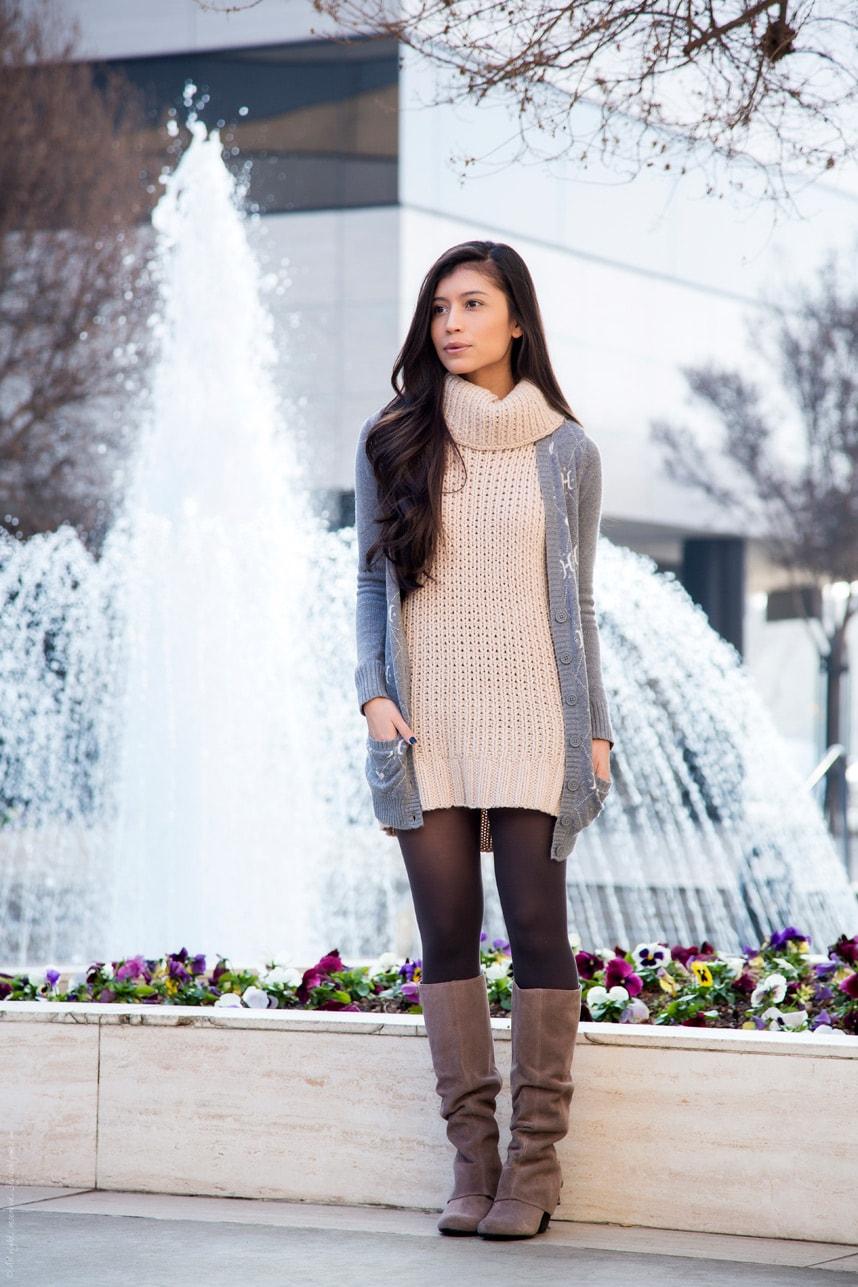 How to wear a sweater dress - Stylishlyme
