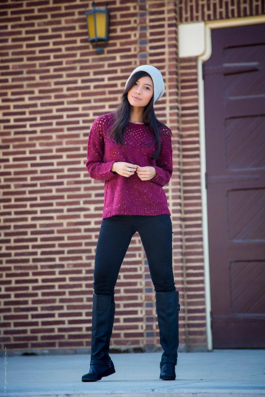 Long Sleeve Burdungy Knitted Sweater - Stylishlyme