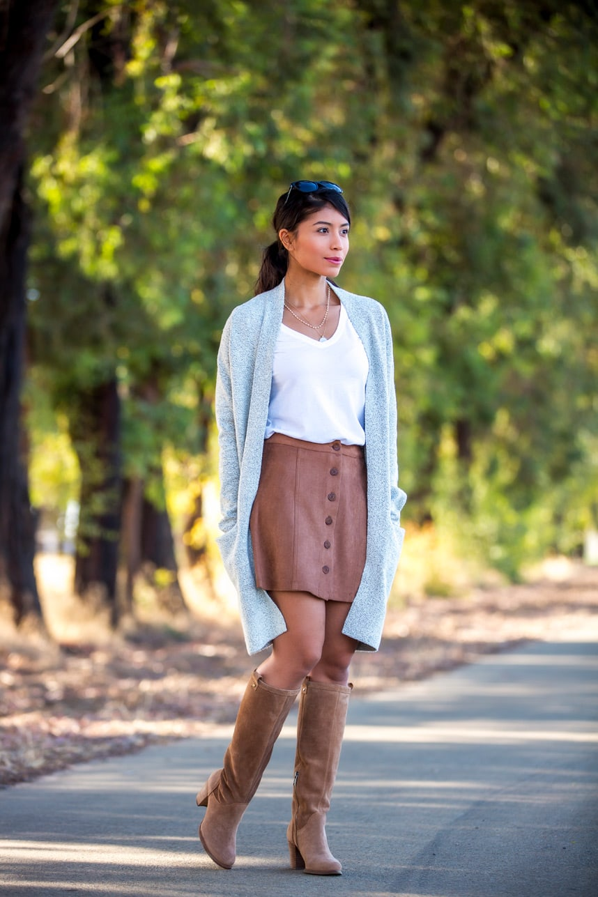 how to wear knee high boots with skirts - Love these outfit ideas and style tips on how to wear knee high boots