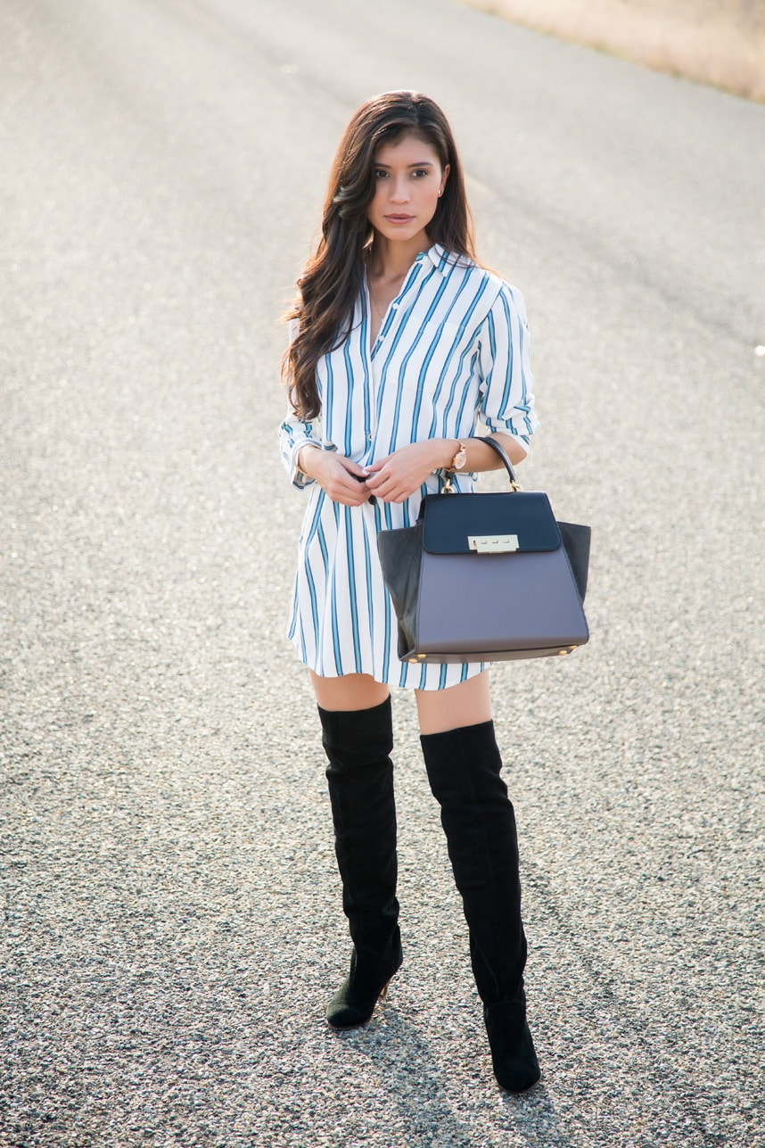 Shirt Dress and Thigh High Boots - Visit Stylishlyme.com for more outfit inspiration and style tips