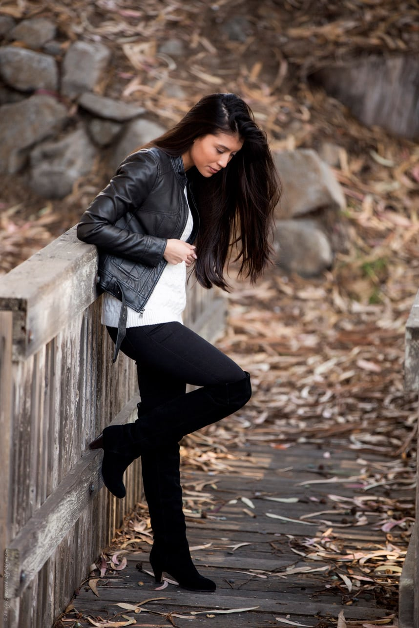 Black Thigh High Boots Black Jeans - Stylishlyme