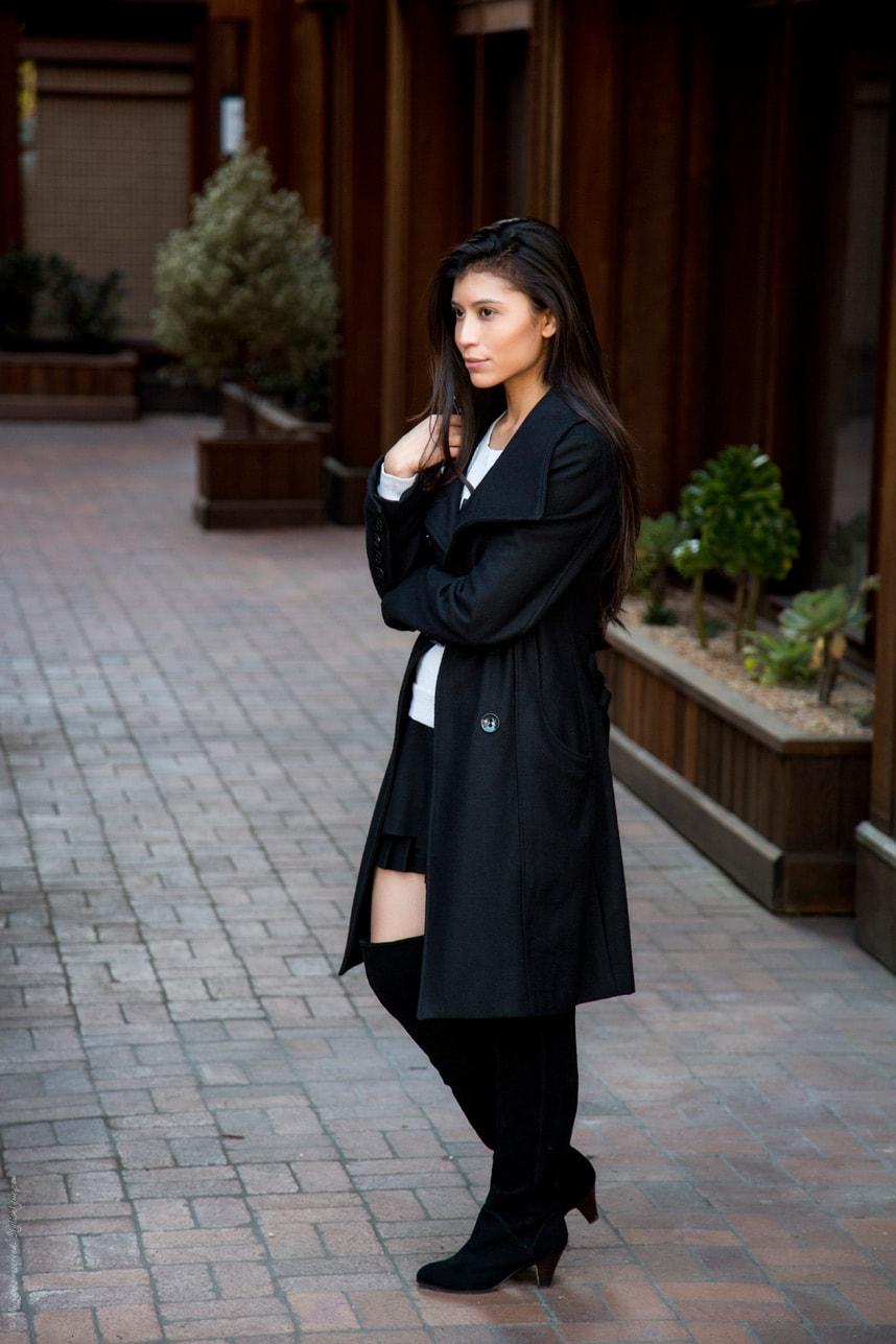 Long Black Coat Black Boots Outfit - Stylishlyme