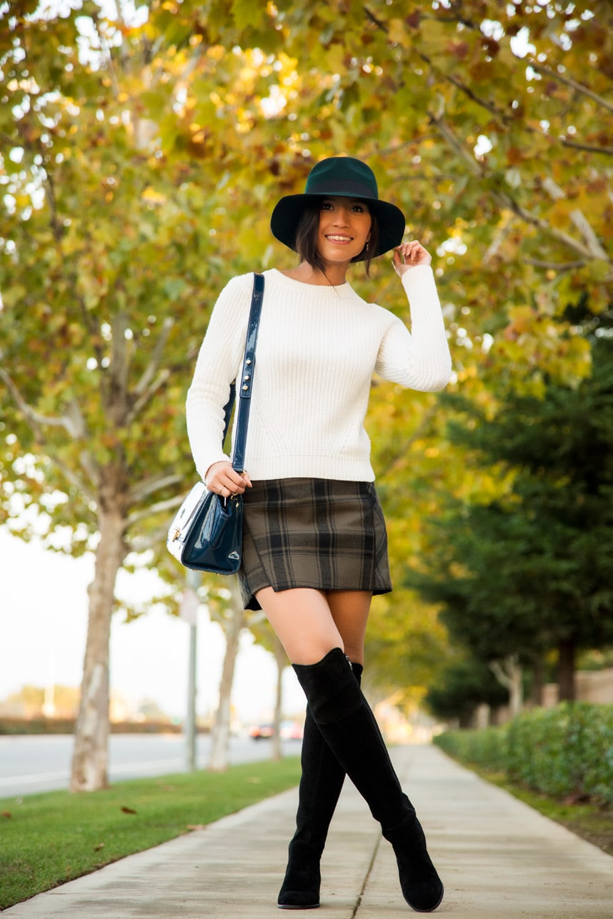 Styling Over The Knee Flat Boots- Visit Stylishlyme.com to read tips on shopping for over the knee boots and how to wear them