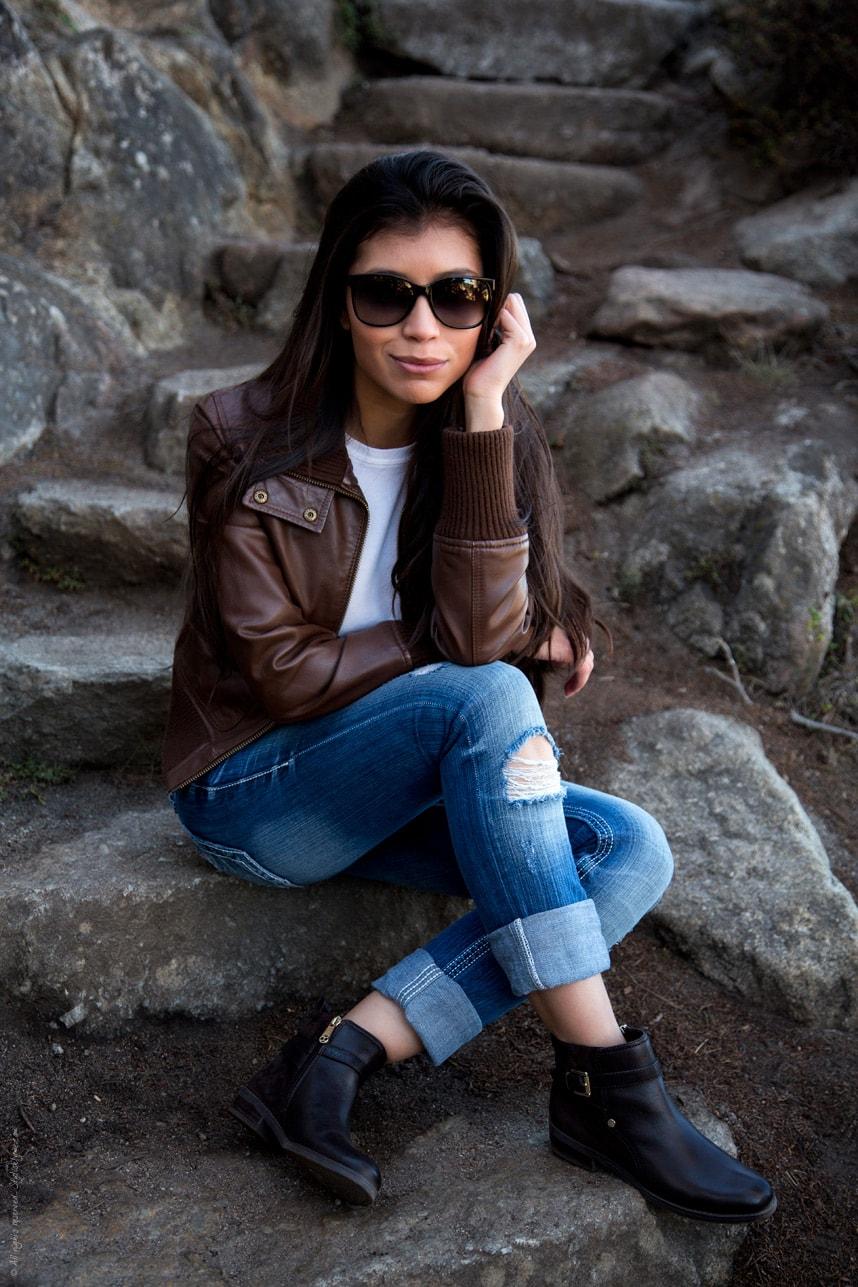 Brown Jacket Brown Ankle Boots - Stylishlyme